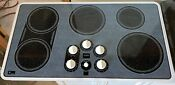 35 Ge Monogram 5 Burner Smooth Top Cooktop Grey And Black White Edge Used Igc