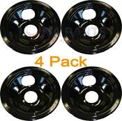 4 Pack Whirlpool Stove Range Cooktop 6 Black Porcelain Burner Drip Pan 4378455