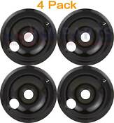 4 Pack Whirlpool Range 8 Black Drip Pan Bowl 305839b 059012b 04100528 04100393