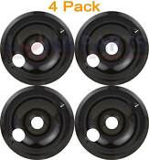 4 Pack Whirlpool Range Cooktop 8 Black Burner Drip Pan Bowl 4212247 4421413