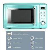 Retro Microwave Oven Green Countertop Led Display 0 7 Cu Ft 700w Turntable New