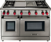 Wolf Gr484cg 48 Pro Style Gas Range W 4 Dual Stacked Sealed Burners Stainless