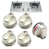 5x Gas Stove Burner Knobs For Lg Range Ss Brushed Nickle Ebz37189611 Ebz37189609
