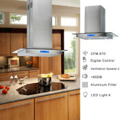 30 Inch Range Hood Island Mount Kitchen Stainless Steel Touch Control 870 Cfm