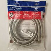 Pack Of 2 Eastman Steel Flex Washing Machine Hoses 5ft Each Hot Cold New 48377