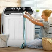 8 Lbs Compact Mini Twin Tub Washing Spiner Machine For Home And Apartment Us