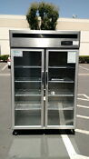 Two Glass Door Flower Cooler Beverage Refrigerator Stainless Steel