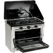 Oven Stove Double Burner Stainless Steel Black Outdoor Patio Picnic Cooking New