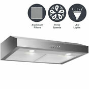 30 Under Cabinet Kitchen Range Hood Stainless Steel W Led Lights 3 Speed 69w