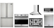Viking 3 Series Package 36in Refrigerato Gas Cooktop Oven Microwave Hood