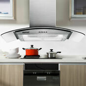30 Stainless Steel Glass Wall Mount Kitchen Vent Range Hood W Led Touch Control