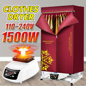 1500w 2 Tier Electric Clothing Dryer Remote Control 110 240v Heater Safety