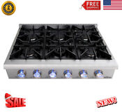 36 Pro Style Stainless Steel Gas Range Stove Cooktop 6 Burner Cooker Hrt3618u