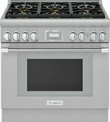 Thermador 36 Stainless Steel 6 Burner Convection Gas Smart Range Prg366wh