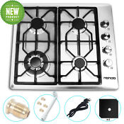 24 Inch Built In Gas Cooktop Stainless Steel New 4 Burners Stove High Efficiency
