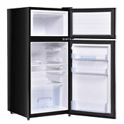 2 Doors Cold Rolled Sheet Compact Refrigerator Black