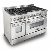 Zline 48 7 Burner Oven Range W Cast Iron Grill Stainless Steel Used