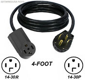 4ft Dryer Extension Cord Female 14 30r 4 Prong Receptacle Male 14 30p 4 Pin Plug