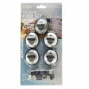 5 Aqua Plumb Replacement Gas Range Knobs W Universal Adapters Kit Black Silver