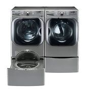 5 2 Cu Ft Front Load Washer And Gas Dryer W Laundry Sidekick Washer Pedestal Set