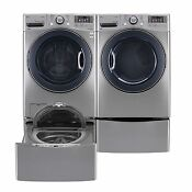 4 5 Cu Ft Front Load Washer And Gas Dryer W Laundry Sidekick Washer Pedestal Set