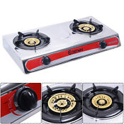 Stainless Steel 2 Burners Lpg Gas Stove Cooker Hob Cooktop Kitchen New