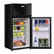 3 4 Cu Ft 2 Door Compact Mini Refrigerator Freezer Cooler Black