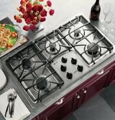 Ge Profile 36 Stainless Recessed Gas Cooktop With 5 Sealed Burners Jgp963sekss