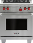Wolf 30 Pro Gas Range W Convection And Infrared Broiler In Stainless Gr304