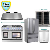 48 Dual Fuel Gas Range Under Cabinet Hood Dishwasher Wine Cooler Refrigerator