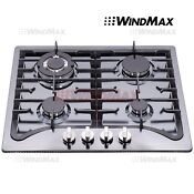Windmax 23 Black Titanium Stainless Steel 4 Burner Lpg Ng Gas Cooktop
