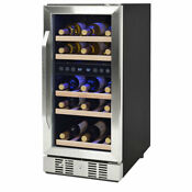 Newair 29 Bottle Built In Compressor Adjustable Wine Cooler Silver Open Box