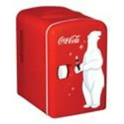 Coca Cola Portable Mini Fridge 6 Can Refrigerator Cooler With Warming Retro Red