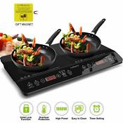 Digital Induction Cooktop Double Countertop Burner Hot Plate Kids Safety Lock