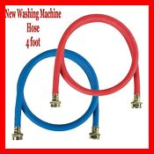 Certified Appliance Wm48rbr2pk Red Blue Rubber Washing Machine Hoses 2pk 4 Foot