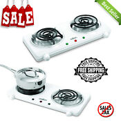 Electric Double Coil Cooking Range White Portable Electric Burner Heat Elements