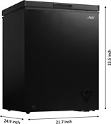 Small Black Chest Freezer Top Load Stainless Garage Frozen Food Storage 5 Cu Ft