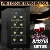 8 Bottle Wine Cooler Refrigerator Thermostat Cabinet Air Tight Seal Temp Control