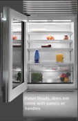 Subzero Bi36ugolh 36 Inch Built In Glass Door Refrigerator Panel Ready Left