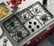 Ge Profile 36 Stainless 5 Burners Continuous Grates Gas Cooktop Jgp963sekss
