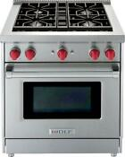 Wolf 30 4 Dual Stacked Sealed Burners Stainless Pro Style Gas Range Gr304lp