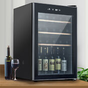 35 Bottles Wine Fridge Refrigerator Cooler Thermoelectric Chiller Cellar Black