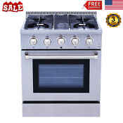 30 Professional Stainless Kitchen Gas Range Stove 4 Burner Cooker Oven Cooktop