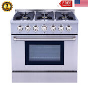 36 Inch Profession Stainless Steel Gas Range Stove 6 Burner Cooker Oven Cooktop