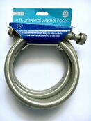 Ge 4ft Universal Heavy Duty Stainless Steel Washer Hoses 2 Pack New Set Of 2