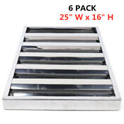 New Stainless Steel Commercial Kitchen Exhaust Hood Vent Grease Filters 6 Pack