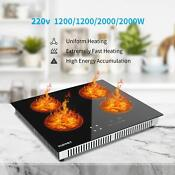 24 Electric Cooktop Vertical With 4 Burners Vitro Ceramic Surface Glass