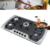 5 Burner Lpg Ng Gas Stove Tempered Glass Cooktop Gas Cooking Hob 35 4 Built In