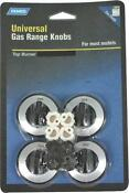 Camco 00943 Universal Set 4 Black Gas Top Stove Range Burner Knobs 6838486