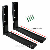 2 X Lg Black Microwave Wall Mounting Holder Brackets With Extendable Arms